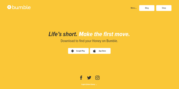 Screenshot of the Bumble homepage