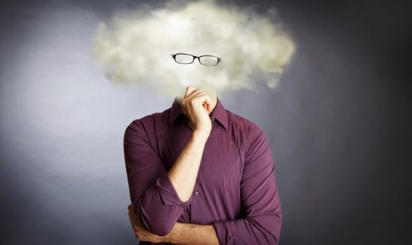 Photo of a man with his head in the clouds