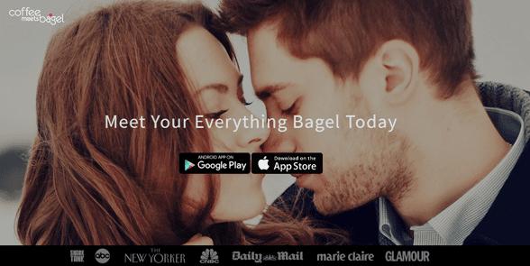 Screenshot of the Coffee Meets Bagel homepage