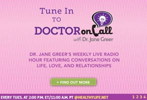 Screenshot of Dr. Jane Greer's radio show ad
