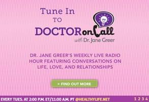 Screenshot of Dr. Jane Greer's radio show ad