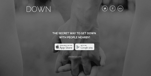 Screenshot of the Down homepage