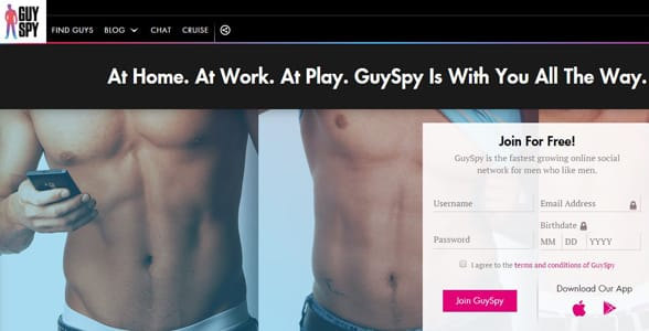 Screenshot of the GuySpy homepage