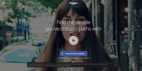 Screenshot of the Happn homepage