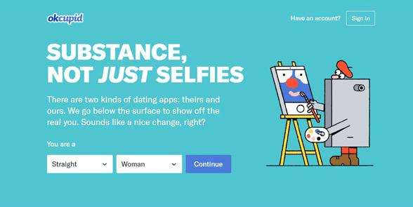 Screenshot of the OkCupid homepage