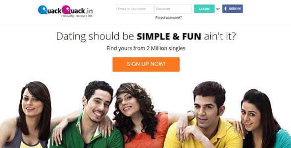 Screenshot of QuackQuack's homepage