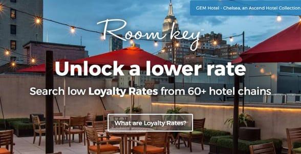 Screenshot of Room Key's homepage