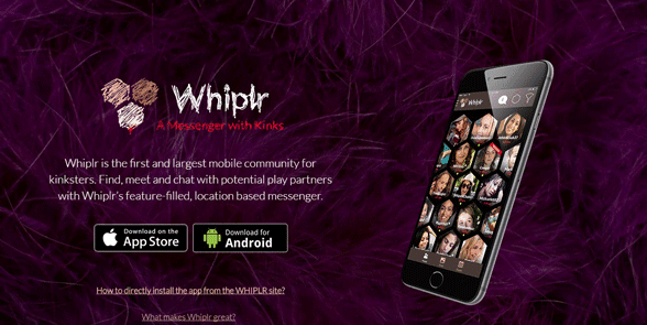 Screenshot of the Whiplr homepage