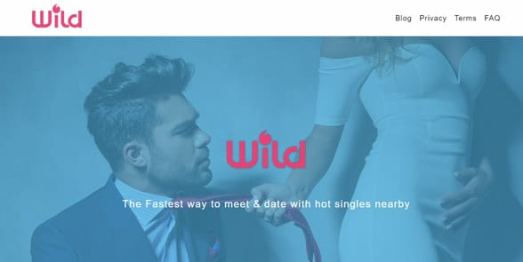 Screenshot of the Wild homepage