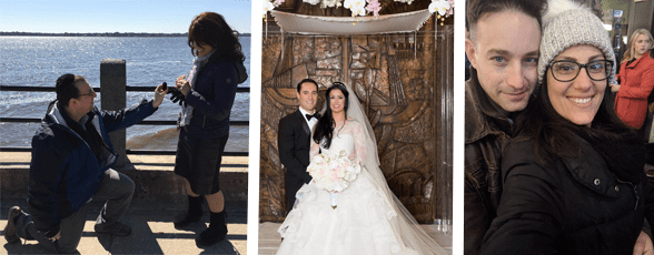 Collage of couples getting engaged, getting married, and taking a photo together