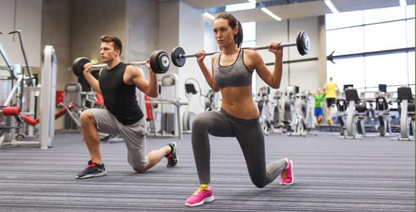 Photo of a couple working out together