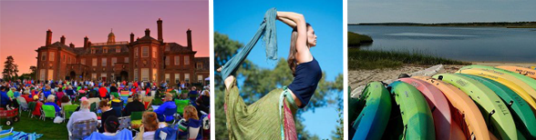 Collage of a picnic concert, yoga, and kayaking events