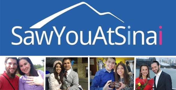 Collage of the SawYouAtSinai logo and couples who've gotten engaged and married through the site