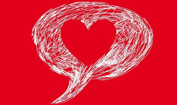 Photo of a heart speech bubble