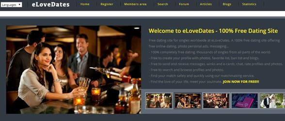 Screenshot of the eLoveDates homepage