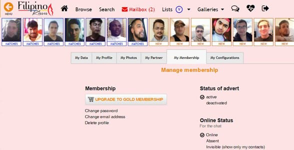 Screenshot of FilipinoKisses.com's Membership Plan page