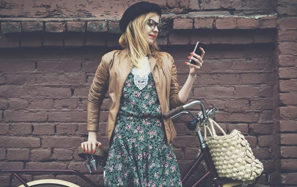 Photo of a woman texting