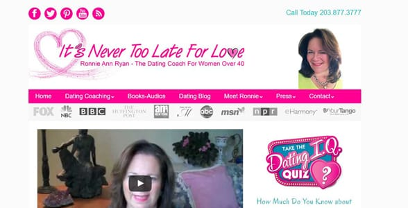 Screenshot of It's Never Too Late For Love's homepage