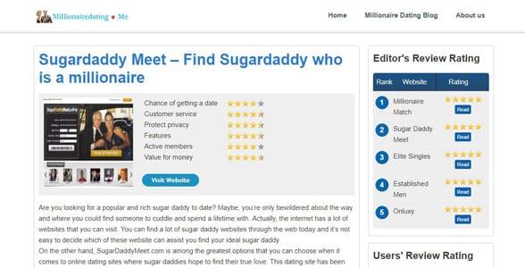 Screenshot of MillionaireDating.me's review of SugarDaddyMeet.com