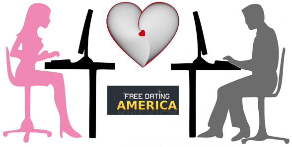 Graphic of a man and woman typing on computers and the Free Dating America logo