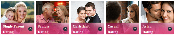 Screenshot of Free Dating America categories