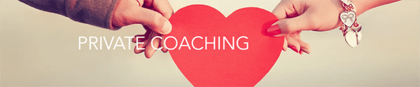 Photo of a man and woman's hands holding a paper heart with the words Private Coaching