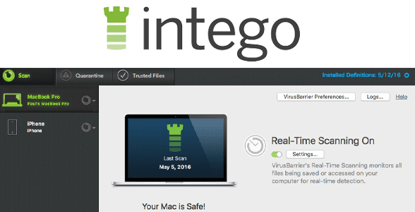 Photo of the Intego logo and screenshot of Intego's real-time security scanning software