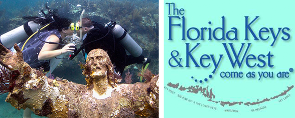 Photo of Kimberly Triolet and Jorge Rodriguez getting married underwater and the Florida Keys logo