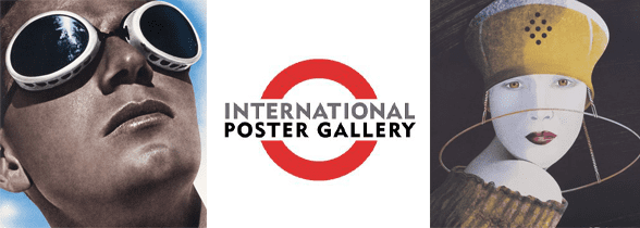 A collage of vintage posters and the International Poster Gallery logo