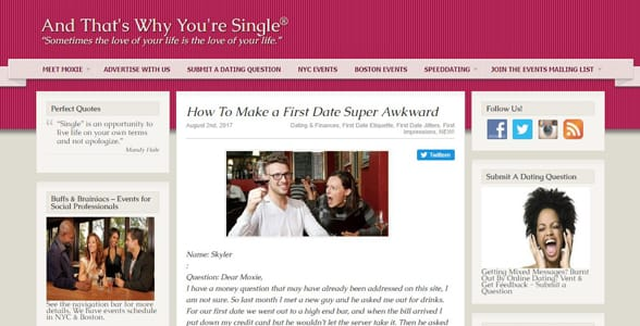 Screenshot of the And That's Why You're Still Single blog