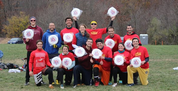 Photo of a WAFC frisbee team