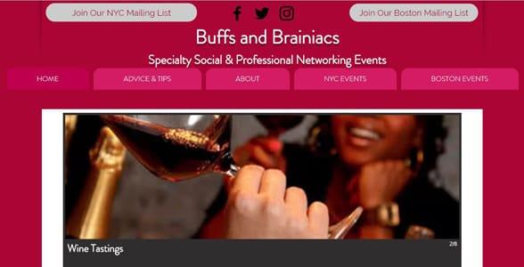 Screenshot of the Buffs and Brainiacs website