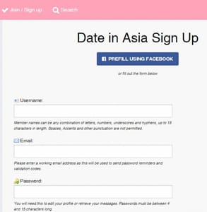 Screenshot of the DateInAsia signup page