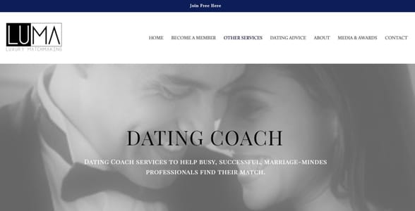 Screenshot of the Luxe Matchmaking homepage