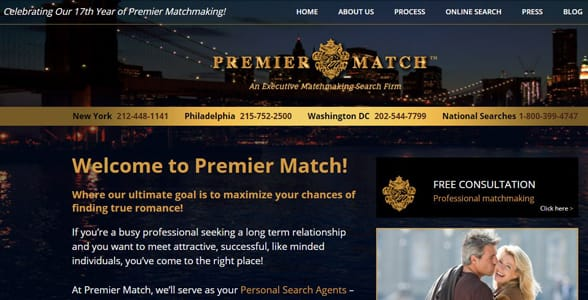 Screenshot of Premier Match's homepage