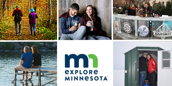 Collage of couples having fun around Minnesota and the Explore Minnesota logo