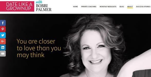 Screenshot of Bobbi Palmer's website