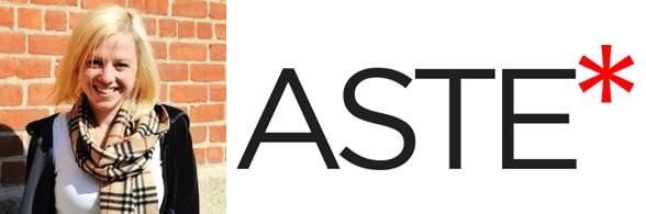 Julie Nashawaty's headshot and the Aste logo