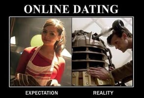 Screenshot of an online dating meme about Doctor Who