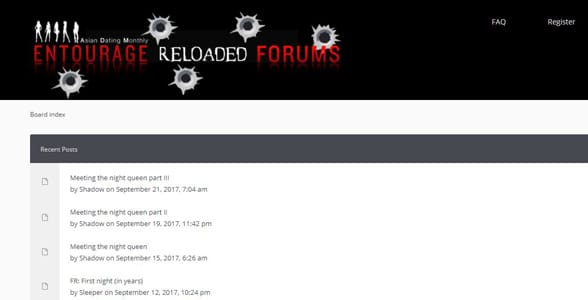 Screenshot of the Entourage Forums