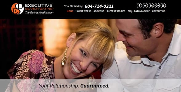 Screenshot of Executive Search Dating's homepage