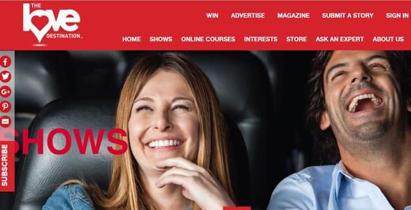 Screenshot of the Love Destination website