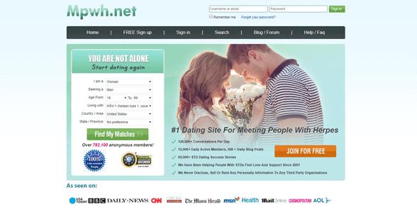 Screenshot of the MPWH.net homepage