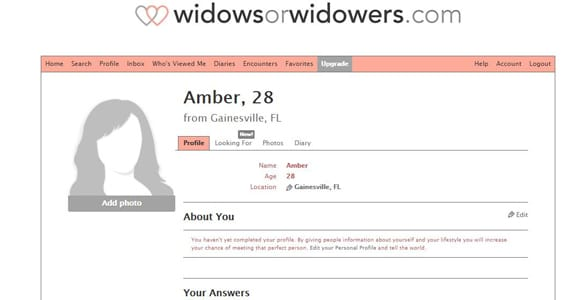 Screenshot of a dating profile on WidowsorWidowers.com