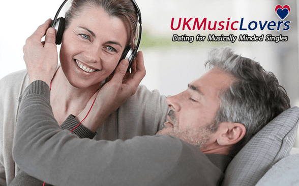 Photo of a couple listening to music together
