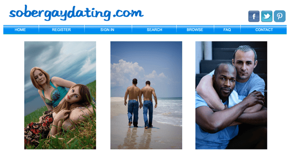 Screenshot of the SoberGayDating homepage