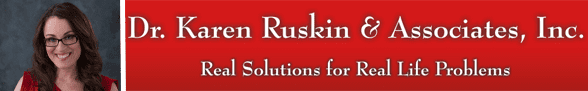 Dr. Karen Ruskin's headshot and her company logo and slogan