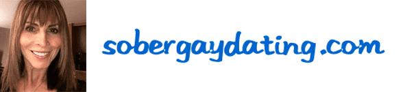 Robin DeLuca's headshot and the SoberGayDating logo