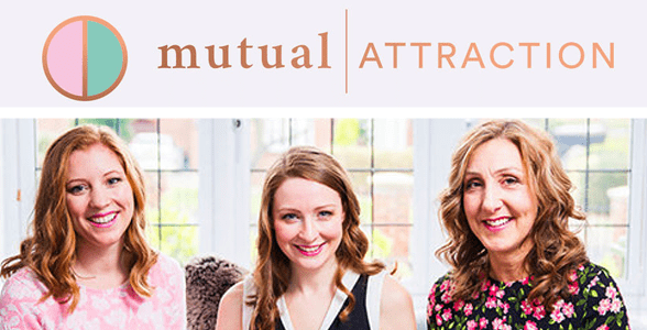 Photo of Caroline Brealey and members of her team below the Mutual Attraction logo
