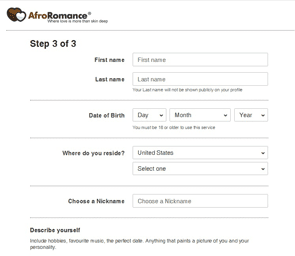 Photo of the AfroRomance registration process